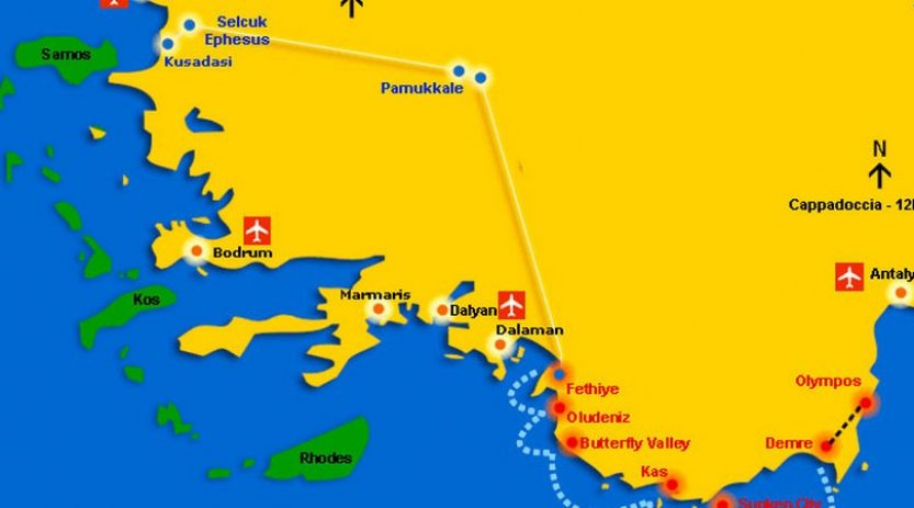 Pamukkale Tour by semi bus from Fethiye